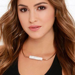 Lulus Pure & Noble Gold and Ivory Collar Necklace